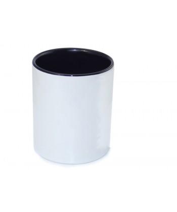Pot à crayon blanc intérieur noir - publimug