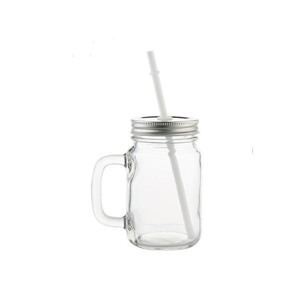 mug publicitaire en verre avec anse et paille esprit. Black Bedroom Furniture Sets. Home Design Ideas
