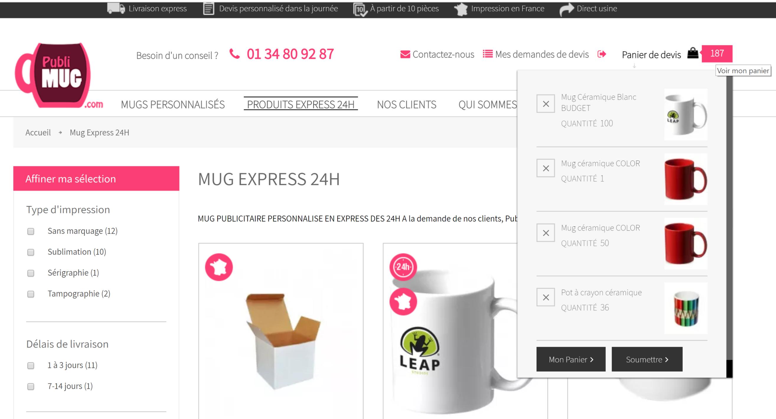 Devis mug publicitaire EXPRESS 24H - Publimug